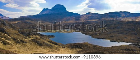 Mount Sulven with a small loch in the foreground in the Asynt region of the   western highland of Scotland