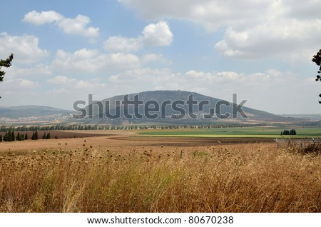 Mount Tabor (Hebrew: Har Tavor) is a hill rising 500m above the Jezreel Valley in the region of Galilee. - stock photo
