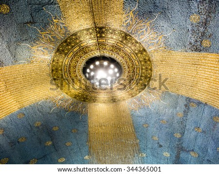 Mount Tabor, Israel July 10, 2015: mosaic on the wall of the Church of the Transfiguration on Mount Tabor, Israel - stock photo