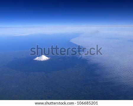 Mount Taranaki or mount egmont on North Isaland of New Zealand. - stock photo