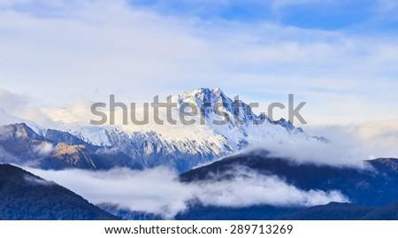Mount Tasman Valleys , Aoraki Mt cook national park Southern Alps mountain South Island New Zealand - stock photo