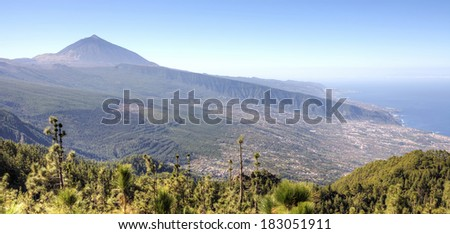 Mount Teide and the valley of La Orotava in the north of the island of Tenerife, Canary Islands. Mount Teide and the valley of La Orotava in the north of the island of Tenerife, Canary Islands. - stock photo