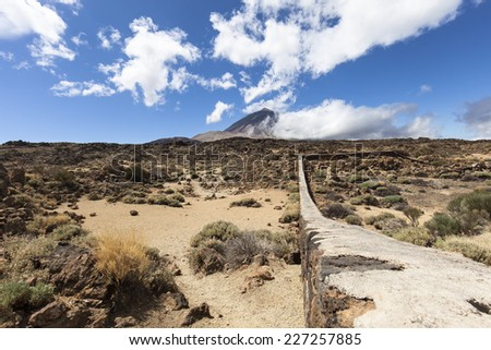 Mount Teide is a volcano on Tenerife in the Canary Islands - stock photo