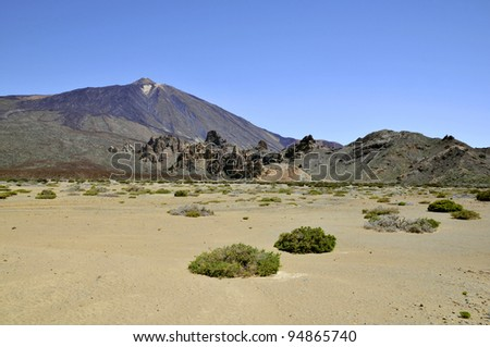 Mount Teide or, in Spanish, Pico del Teide (3718m), is a volcano at Tenerife in the Spanish Canary Islands. It is the highest mountain in Spain - stock photo