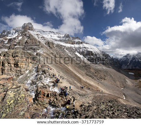 Mount Temple Sentinel Pass Hike, Lake Louise Banff National Park, Alberta, Canada Picture taken on September 26, 2015 - stock photo