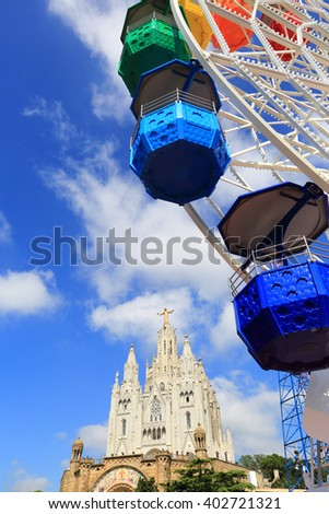 Mount Tibidabo, Barcelona, Spain - stock photo