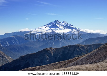 Mount Tronador a volcano in the Andes as viewed from near Bariloche Argentina - stock photo