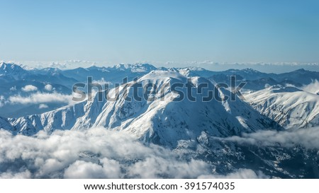 Mount Tymfristos aka Velouchi covered in snow, in Evritania,  Greece