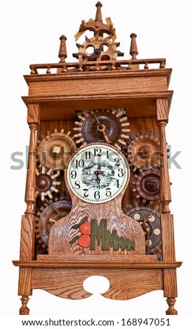 MOUNT VERNON, WA/USA - SEPTEMBER 2, 2012: Illustrative editorial is a vintage, wooden clock with detailed gears and a European style. - stock photo