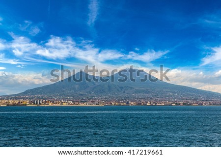 Mount Vesuvius in a summer day  in the gulf of Naples, Italy - stock photo