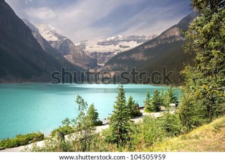 Mount Victoria and Lake Louise, Banff National Park, Lake Louise, Alberta, Canada - stock photo
