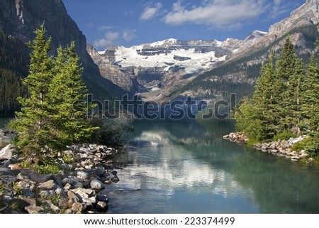 Mount Victoria, Lake Louise, Banff National Park, Alberta, Canada.  - stock photo