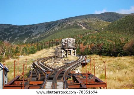 Mount Washington Cog Railroad to the peak, New Hampshire, USA - stock photo