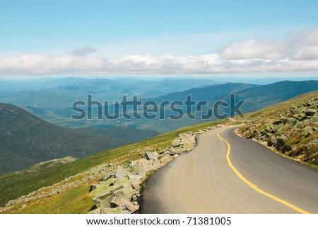 Mount Washington road view and green mountains - stock photo