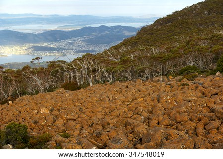 Mount wellington in hobart a major tourist attraction for its unique landscape with a view to the city of hobart