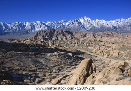Mount Whitney and lone pine peak and the alabama hills california usa - stock photo