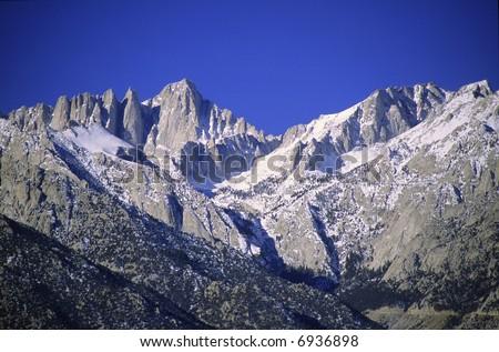 Mount Whitney in Eastern Sierra Nevada - stock photo