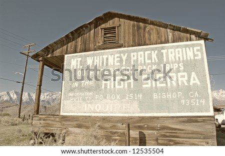 Mount Whitney outfitter sign. california usa - stock photo