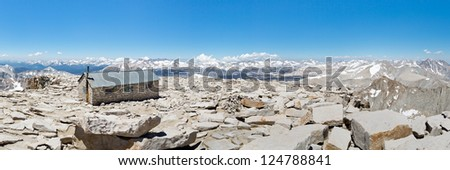 Mount Whitney Summit Panorama - Mount Whitney Summit Hut and Grand View of the Sierra Nevada Mountains. - stock photo