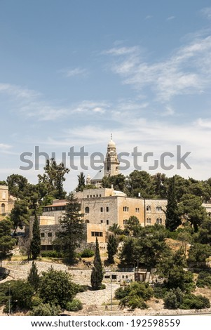 Mount Zion and the Abbey of the Dormition - stock photo