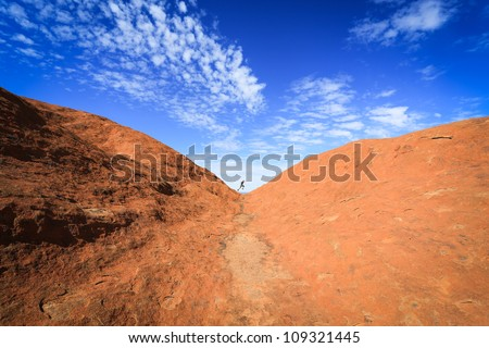 Mountain against blue sky - stock photo