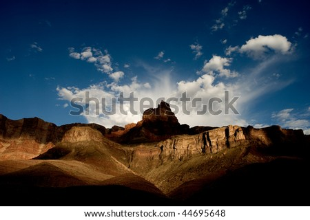 Mountain along the Colorado River in the Grand Canyon - stock photo