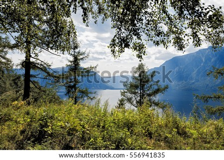 Mountain Altai. View from the cordon Bele on the southern tip of Lake Teletskoye