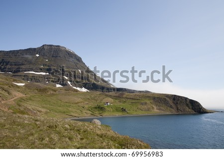 Mountain and bay in West Iceland - stock photo