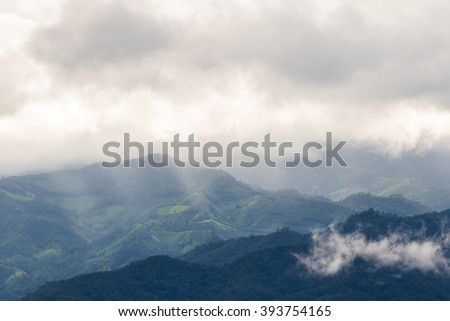 Mountain and cloud when sunset. Pa Bong Piang rice paddy field in Chiang mai Thailand - stock photo