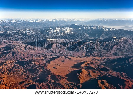 Mountain and desert in the north of Afghanistan - stock photo