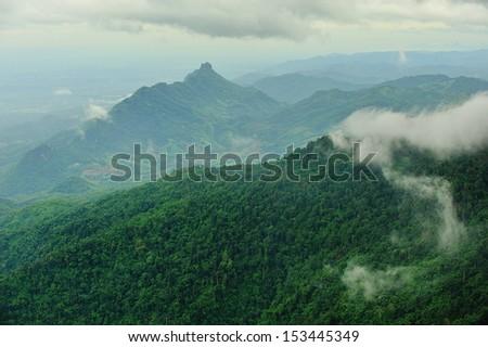 mountain and fog  - stock photo