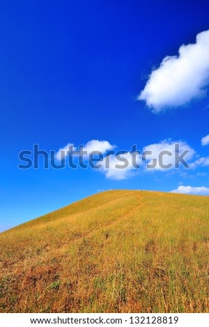 mountain and grass field - stock photo