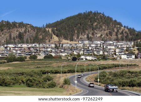 Mountain and homes in Kelowna, British Columbia, Canada