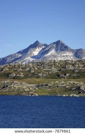 mountain and lake - stock photo