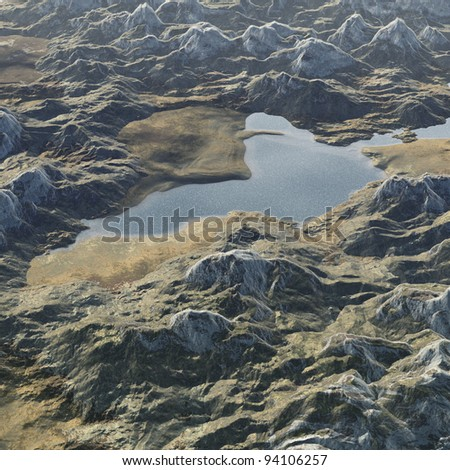 mountain and lake - stock photo