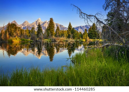Mountain and lake in grand teton national park,USA