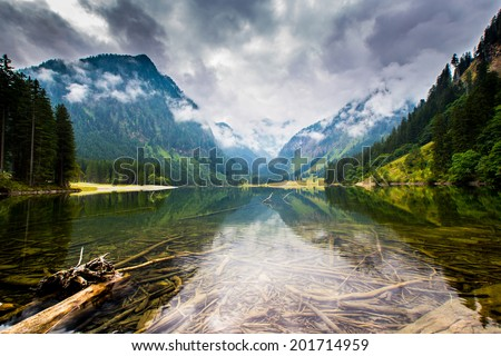 Mountain and lake in high Alps Austria