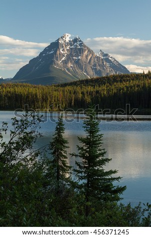 Mountain and Lake in Jasper National Park, Alberta, Canada