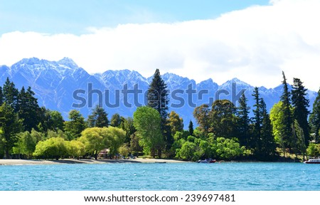 Mountain and lake in Queenstown, New Zealand, South Island - stock photo