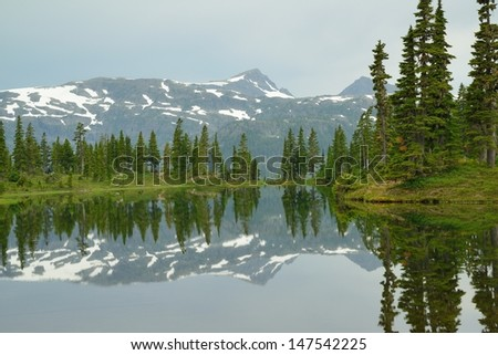 mountain and lake in strathcona provincial park, vancouver island, bc, canada - stock photo