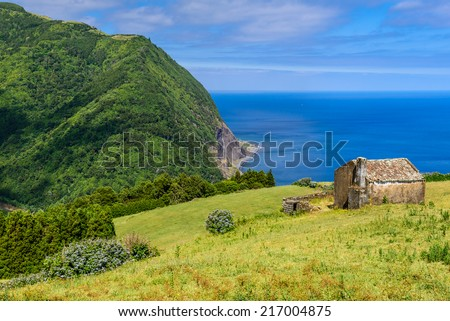 Mountain and ocean landscape Azores, Sao Miguel, Portugal, Europe - stock photo