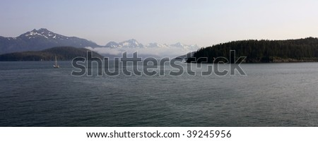 Mountain and Ocean Scene - stock photo