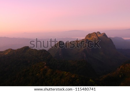 Mountain and pink sky - stock photo