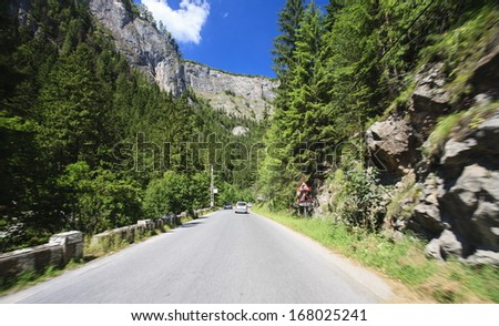 mountain  and road without cars