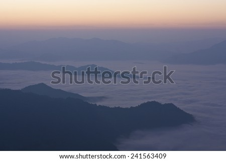 mountain and sky in morning