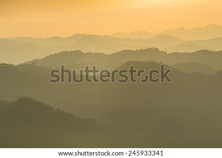 Mountain and sunset at Doi-khamfah, Chiangmai, Thailand.