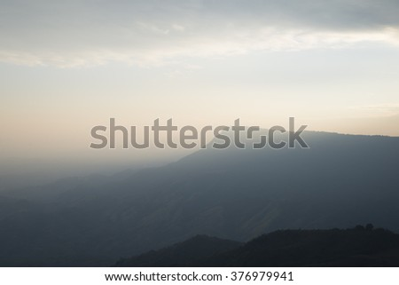 mountain and sunset in thailand