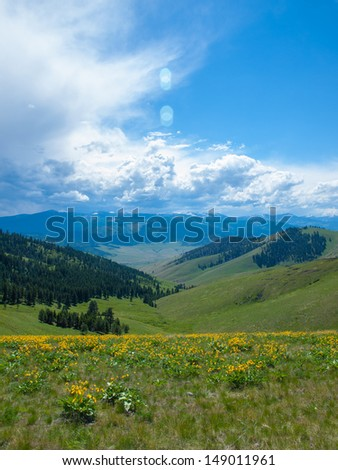 Mountain and Valley View from the National Bison Refuge in Montana USA