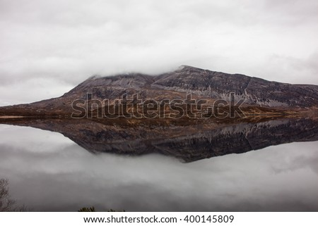 Mountain Arkle and Loch Stack, Scotland  - stock photo