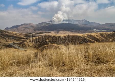 Mountain Aso - stock photo